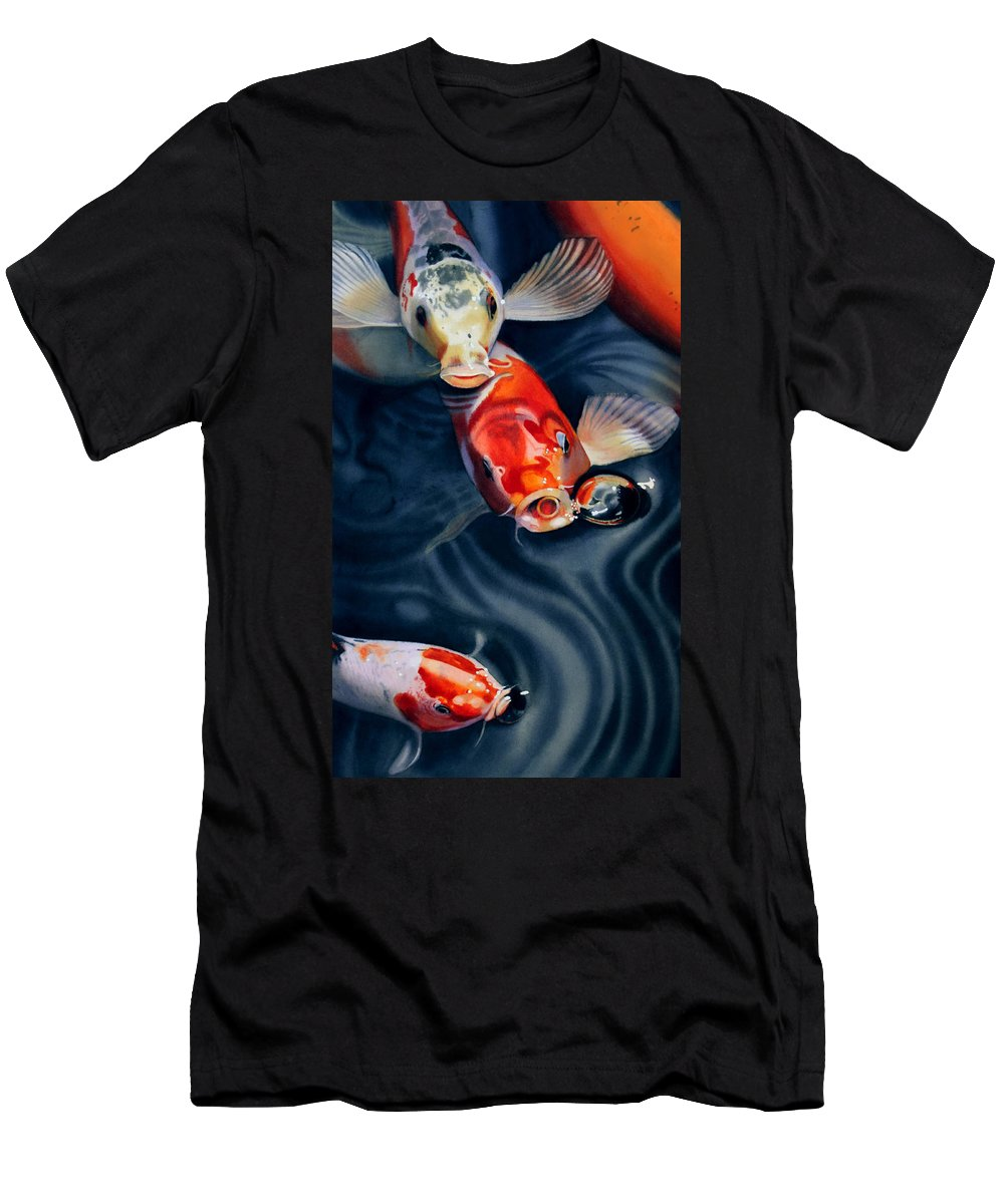 Koi Men's T-Shirt (Athletic Fit) featuring the painting Feeding Frenzy by Denny Bond