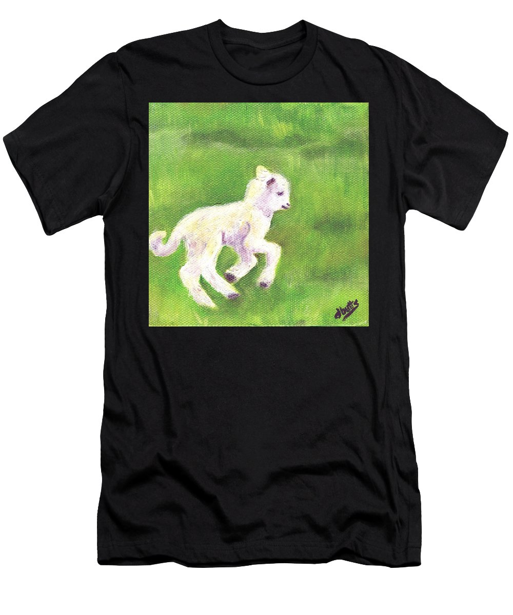 Sheep Art Men's T-Shirt (Athletic Fit) featuring the painting Feelin Frisky by Deborah Butts