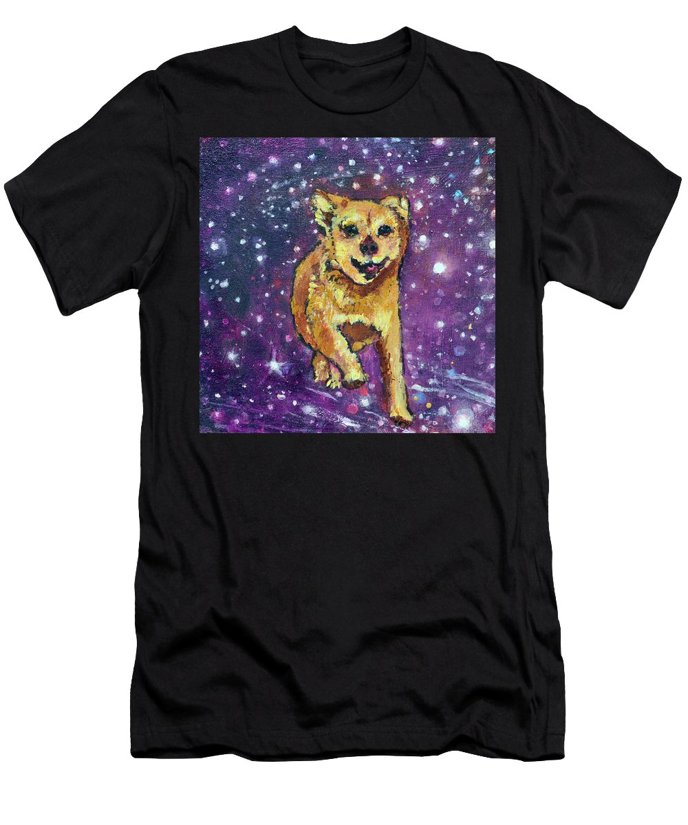 Pet Portraits Men's T-Shirt (Athletic Fit) featuring the painting Felix Running To See His Friends by Ashleigh Dyan Bayer