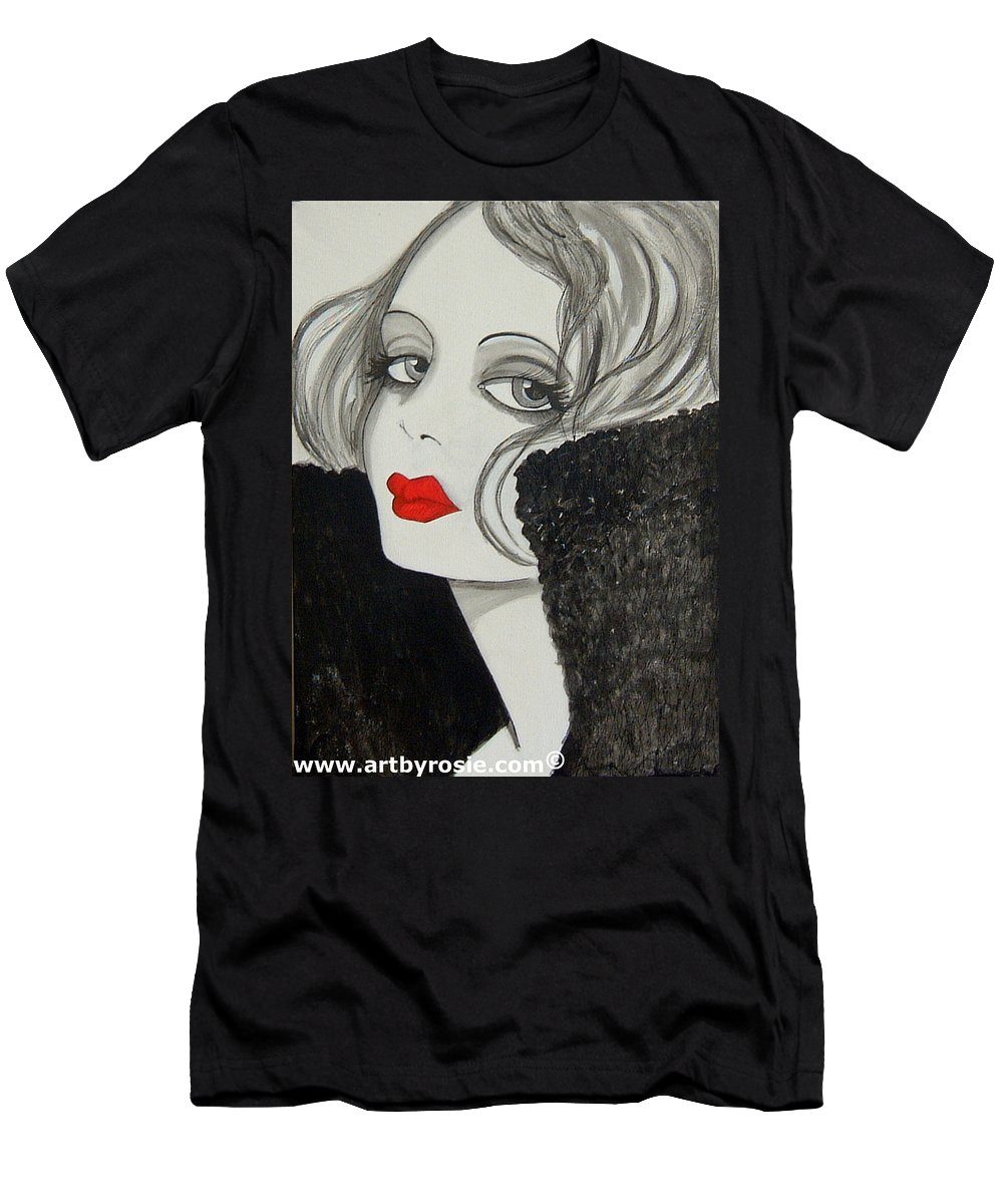 Cinema Men's T-Shirt (Athletic Fit) featuring the painting Femme Fatale by Rosie Harper