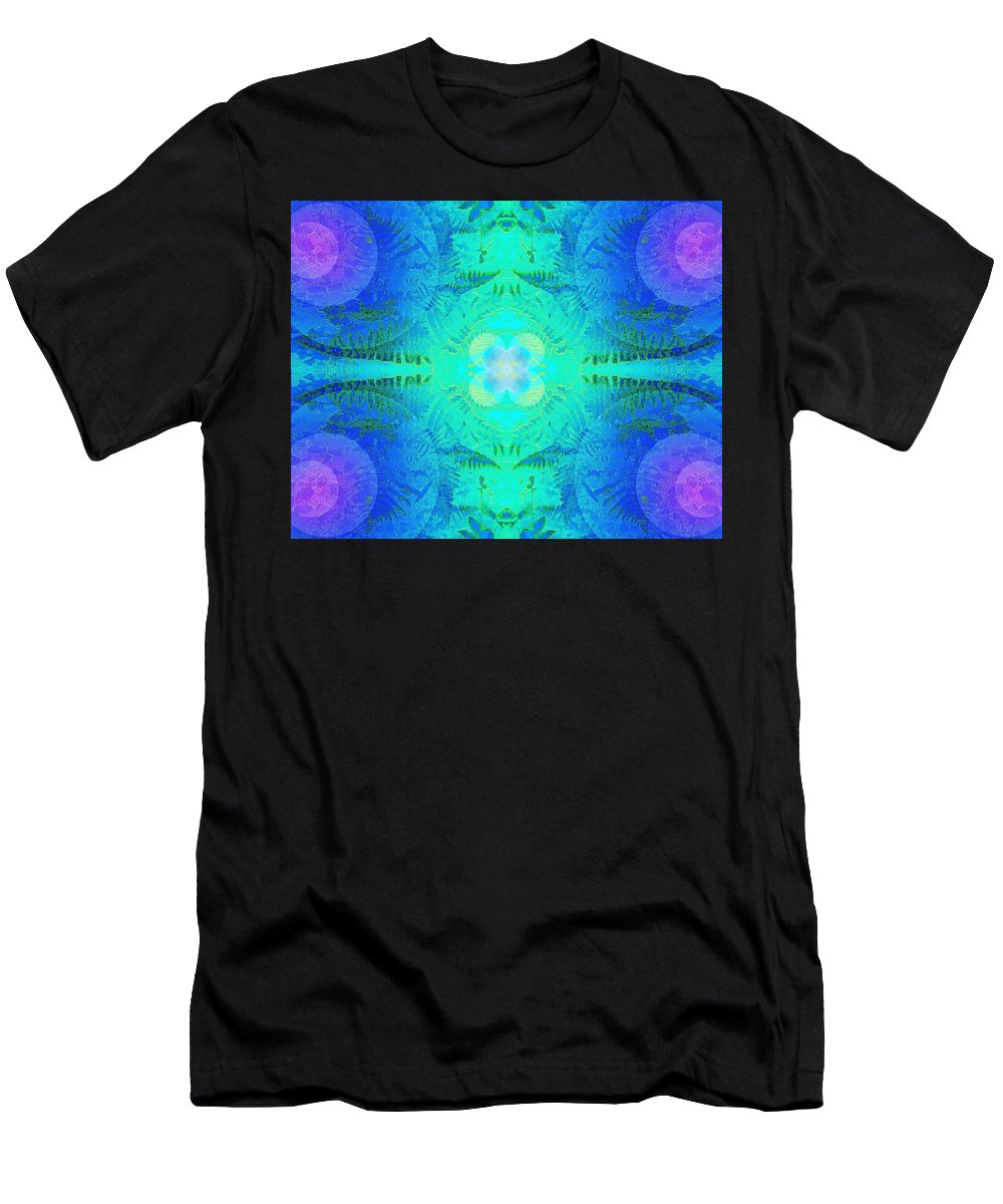 Fern Men's T-Shirt (Athletic Fit) featuring the photograph Ferns 2j Hotwax 3 Fractal by Julia Woodman
