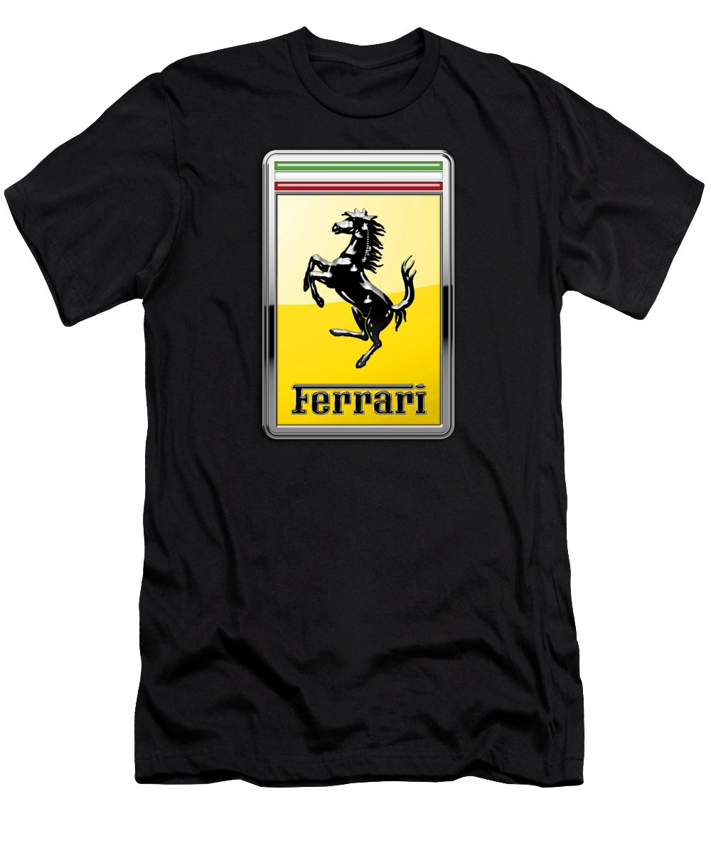 �auto Badges� Collection By Serge Averbukh Men's T-Shirt (Athletic Fit) featuring the photograph Ferrari 3d Badge- Hood Ornament On Yellow by Serge Averbukh