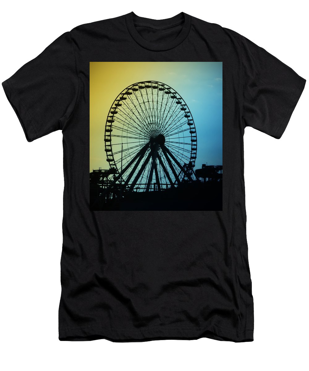 Ferris Wheel Men's T-Shirt (Athletic Fit) featuring the photograph Ferris Wheel - Wildwood New Jersey by Bill Cannon
