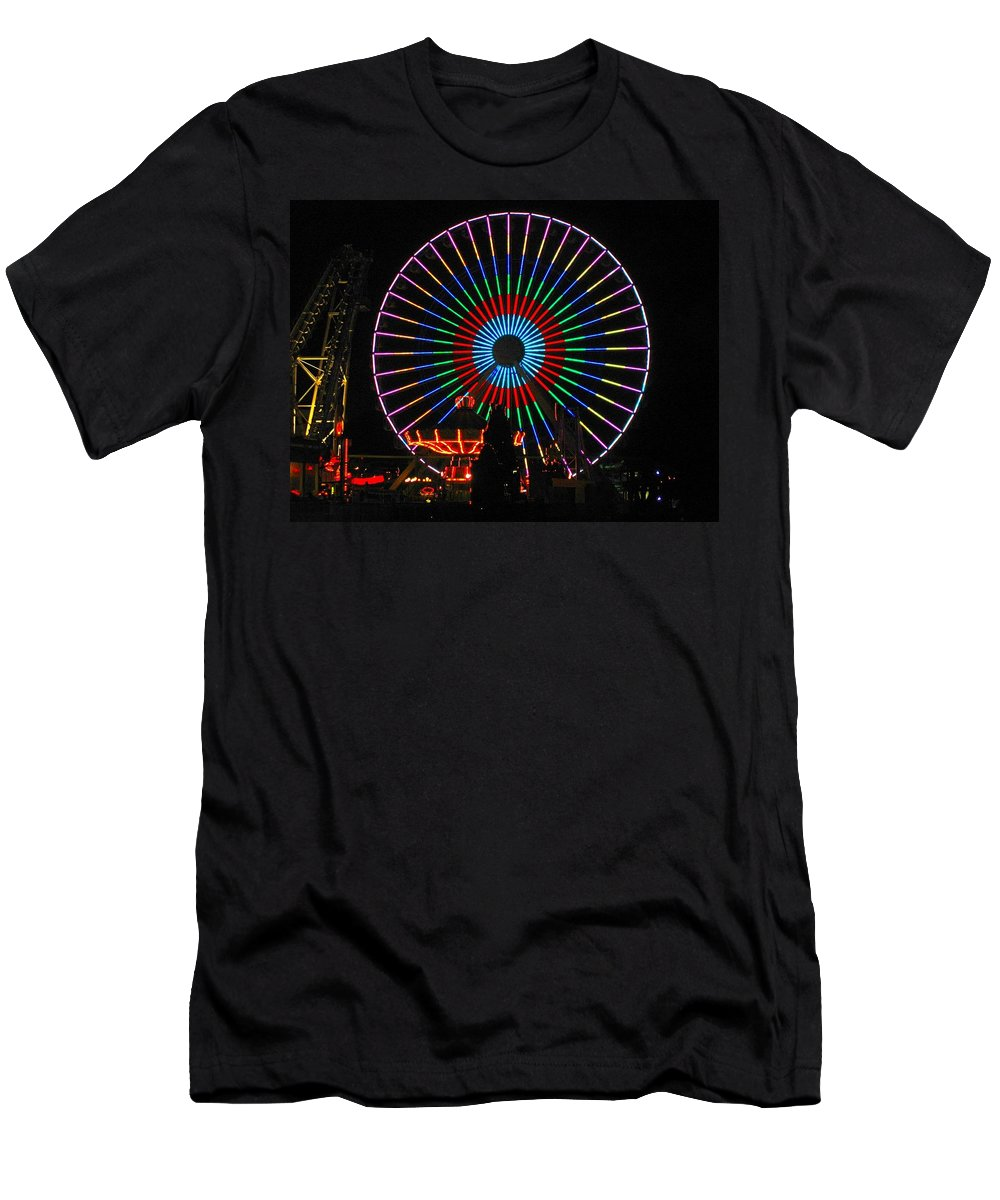 Ferris Wheel Men's T-Shirt (Athletic Fit) featuring the photograph Ferris Wheel In Wildwood New Jersey by Denise Keegan Frawley