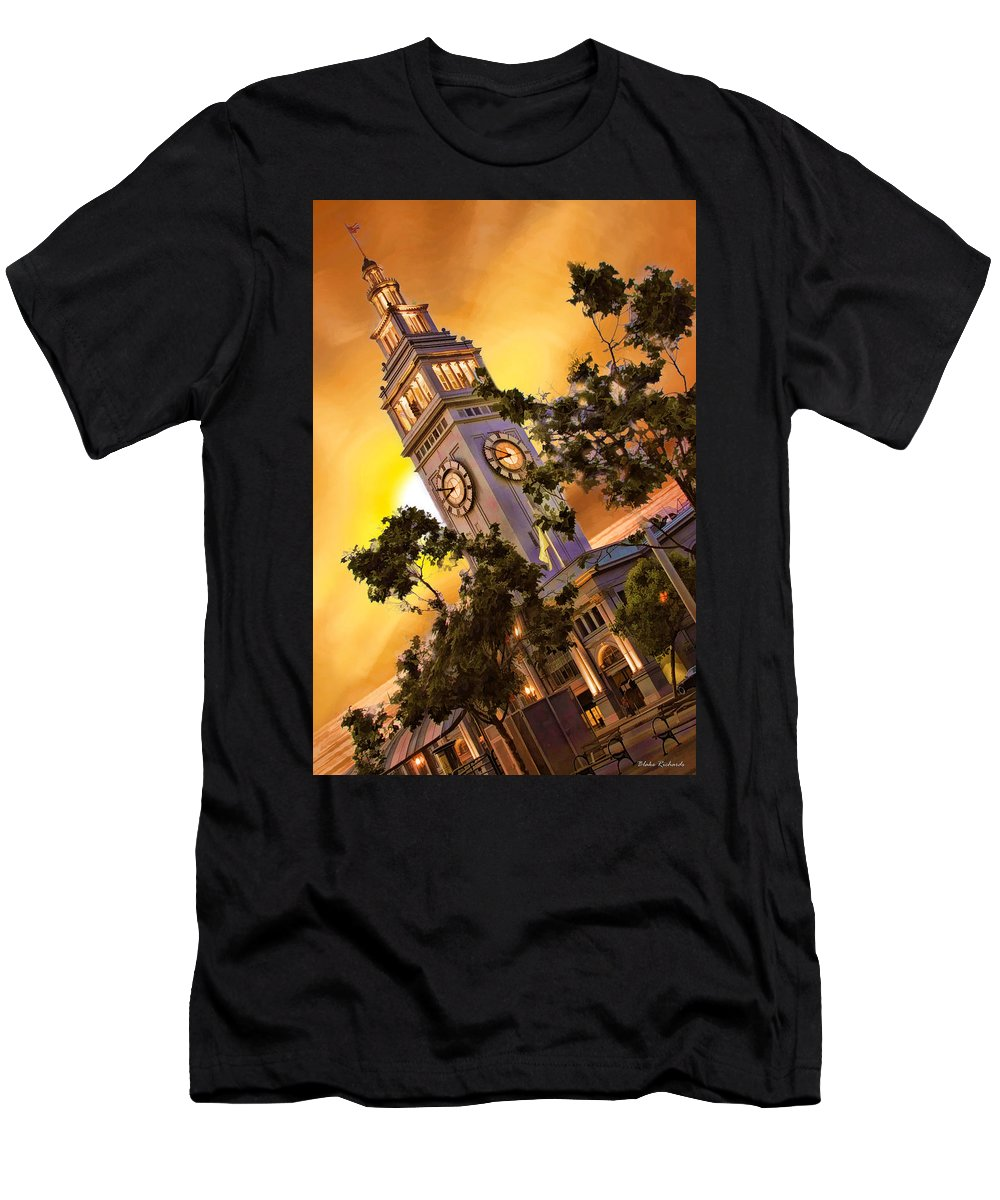 Ferry Building Men's T-Shirt (Athletic Fit) featuring the photograph Ferry Building Golden Sun by Blake Richards