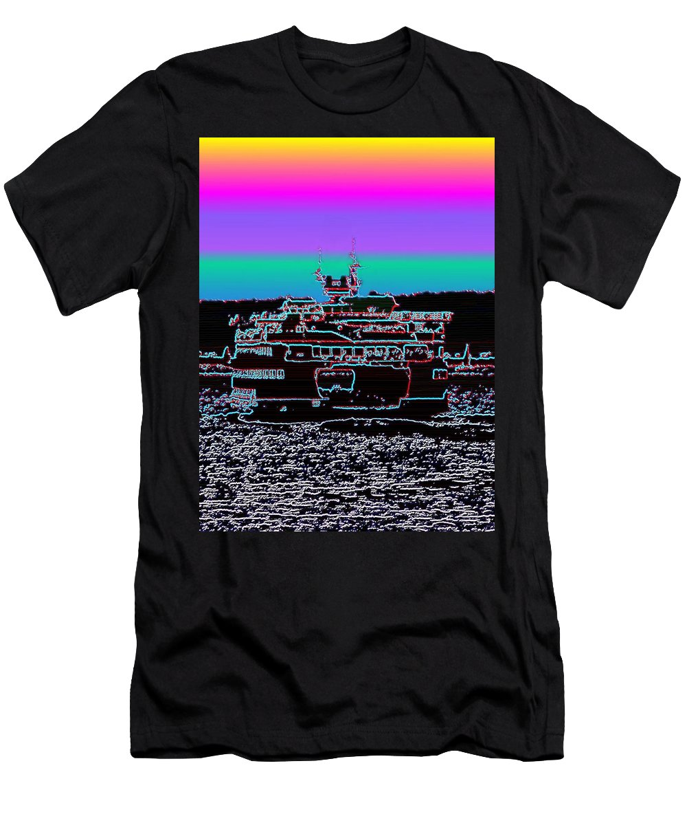 Seattle Men's T-Shirt (Athletic Fit) featuring the photograph Ferry On Elliott Bay 4 by Tim Allen