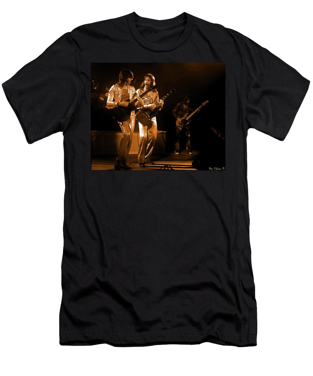 Foghat Men's T-Shirt (Athletic Fit) featuring the digital art Fhat#39 Enhanced In Amber by Ben Upham