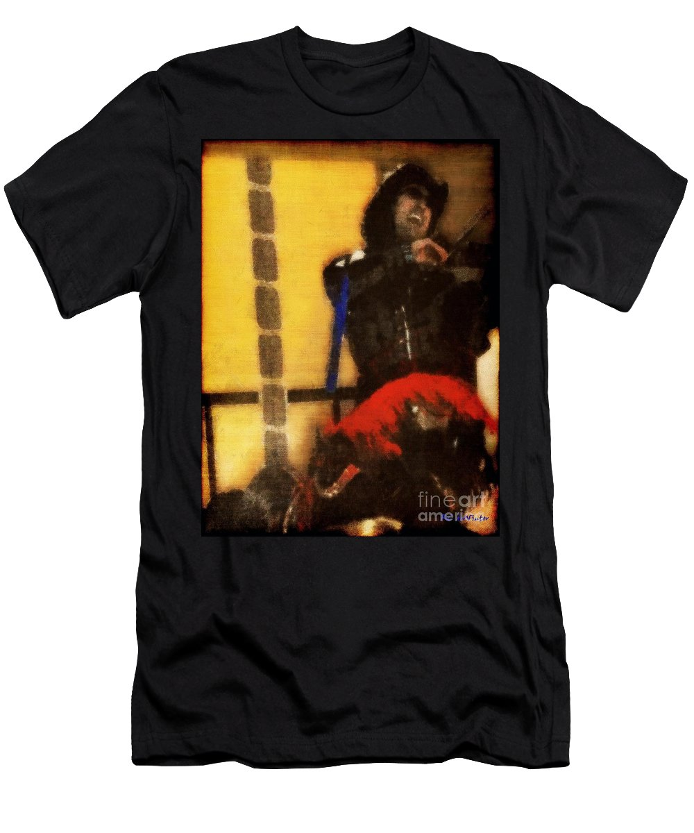 Cafe Men's T-Shirt (Athletic Fit) featuring the painting Fiddle Frenzy by RC DeWinter