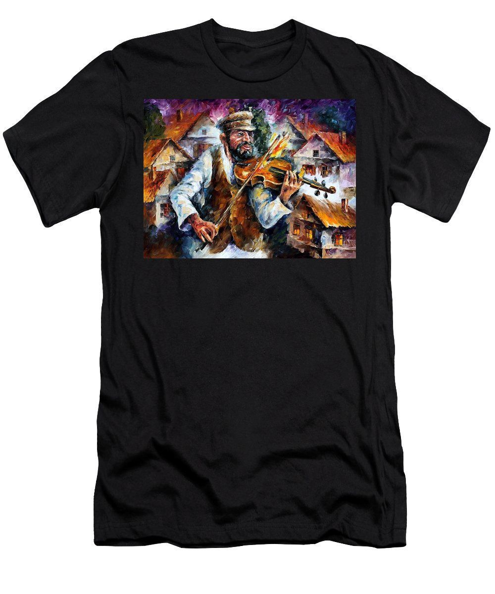 Judiac Men's T-Shirt (Athletic Fit) featuring the painting Fiddler From The Sky by Leonid Afremov