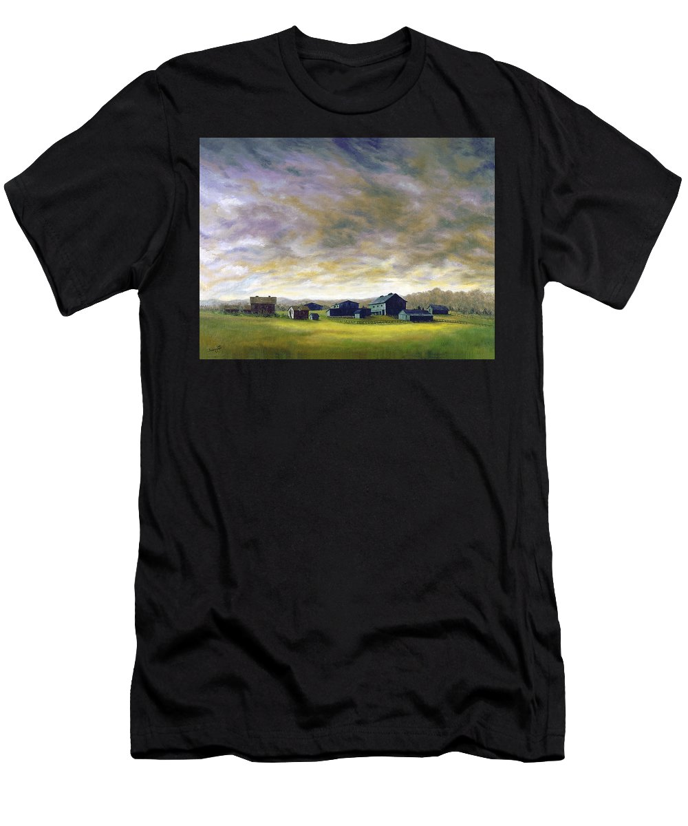 Men's T-Shirt (Athletic Fit) featuring the painting Field Of Green 18x24  by Tony Scarmato