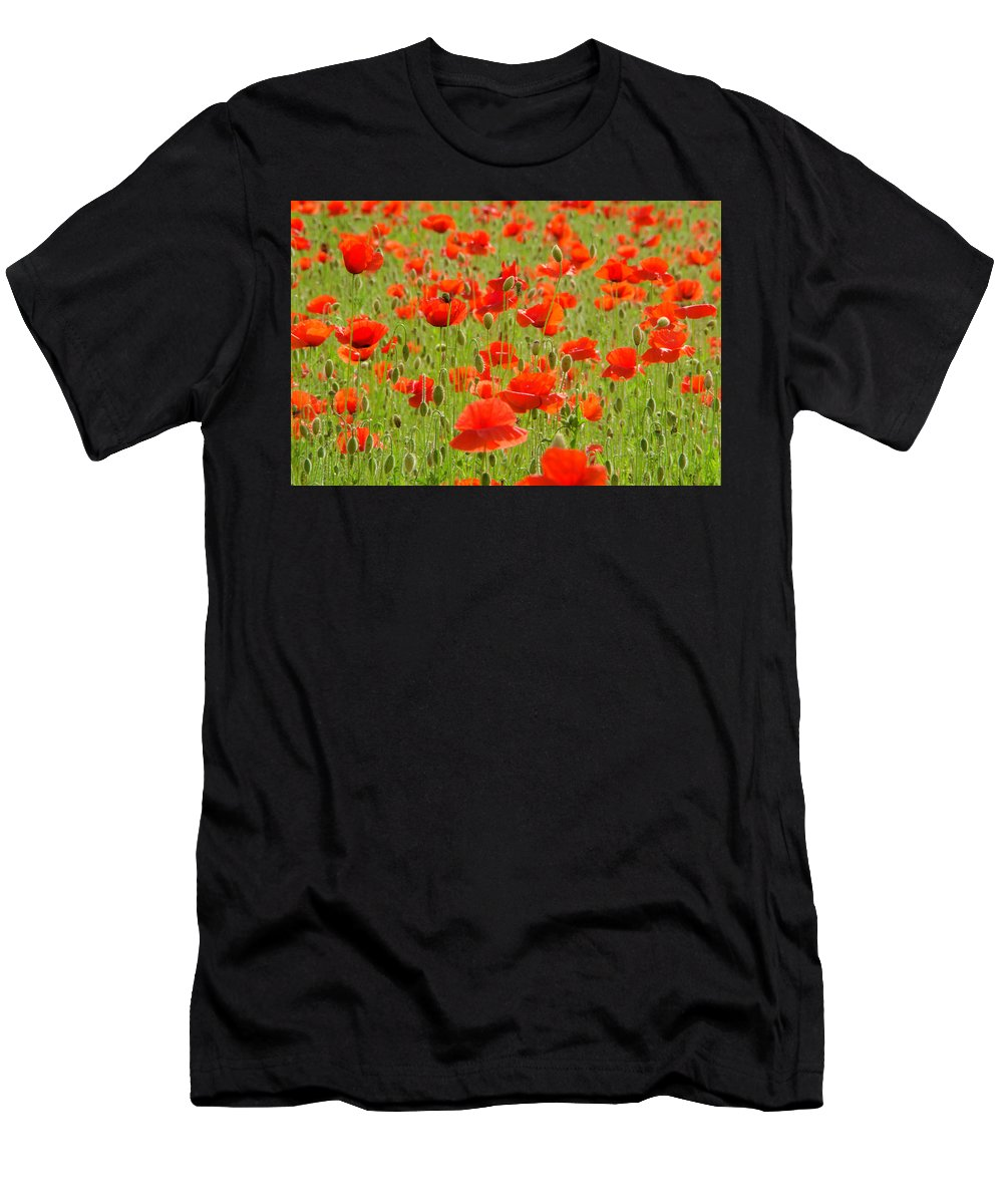 Poppies Men's T-Shirt (Athletic Fit) featuring the photograph Field Of Poppies by Wolfgang Stocker