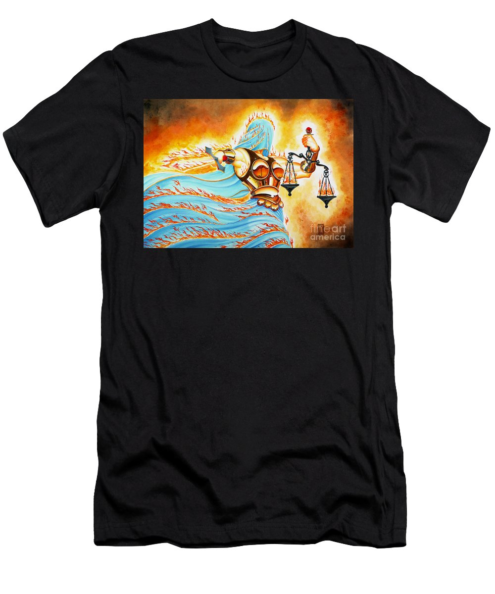 Fantasy T-Shirt featuring the drawing Fiery Justice by Melissa A Benson