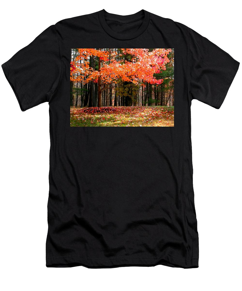 Leaves Men's T-Shirt (Athletic Fit) featuring the painting Fiery Leaves by Paul Sachtleben