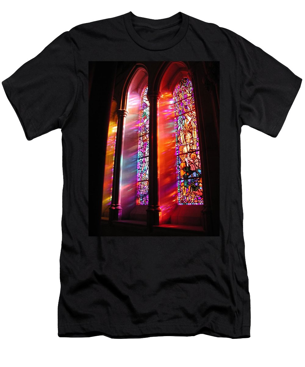 Church Men's T-Shirt (Athletic Fit) featuring the photograph Fiery Light 1 by Tom Reynen