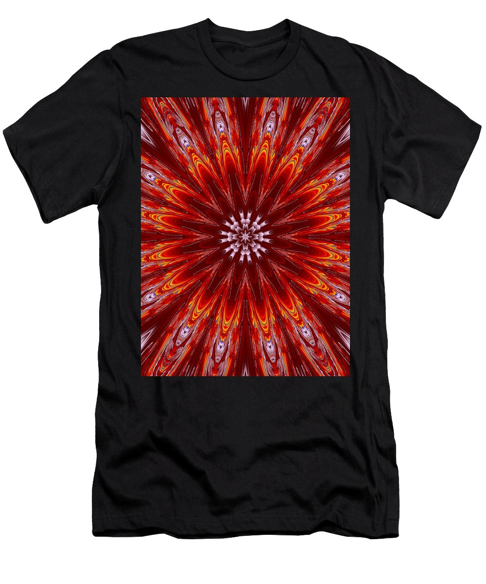 Floral Men's T-Shirt (Athletic Fit) featuring the digital art Fiery Lyapunov by Ester Rogers