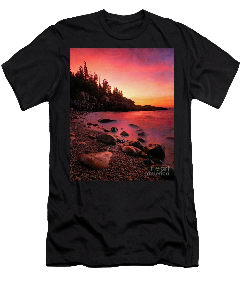 Acadia Men's T-Shirt (Athletic Fit) featuring the photograph Fiery Sunset by Izet Kapetanovic