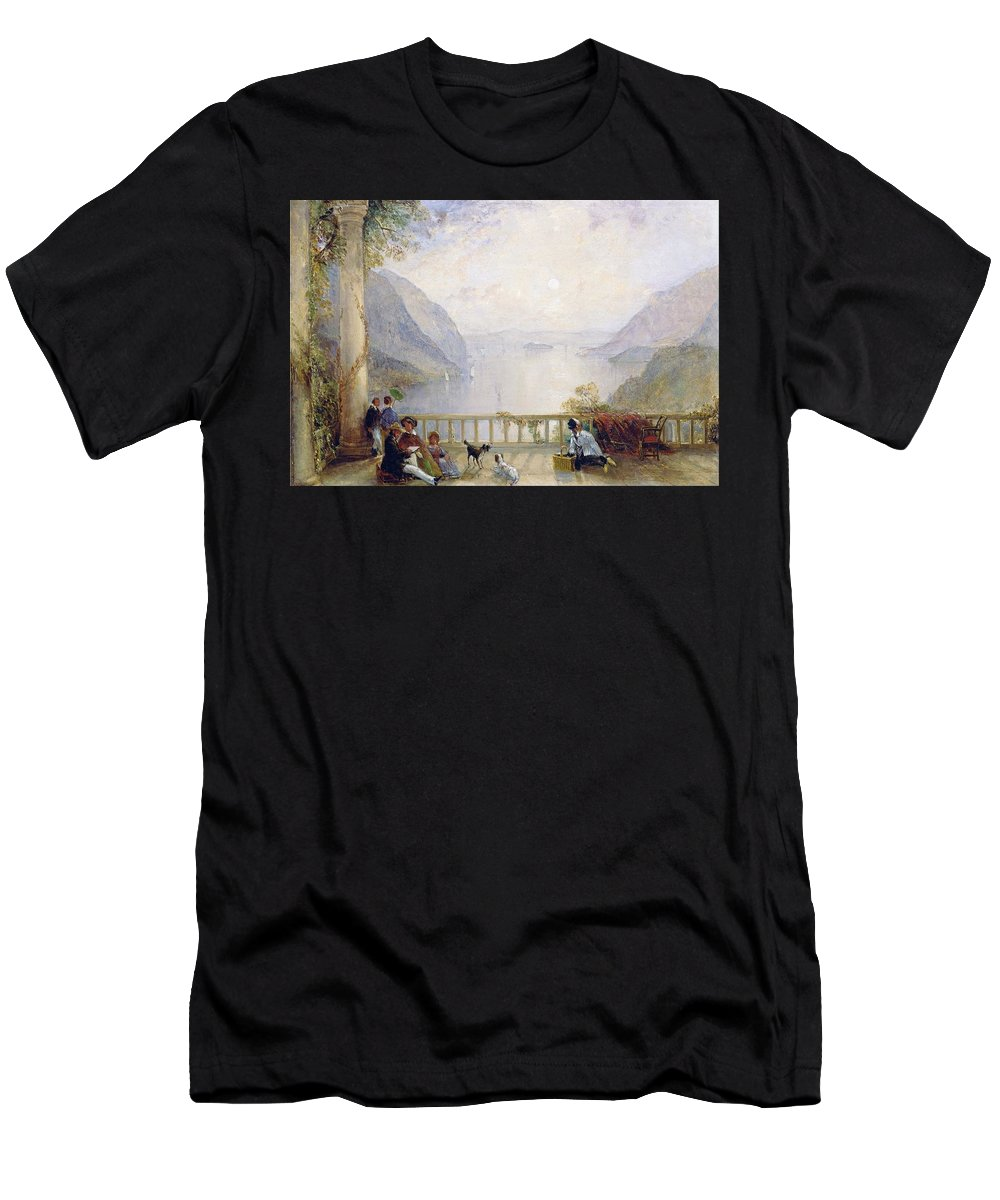 Thomas Creswick - Figures On A Balcony Men's T-Shirt (Athletic Fit) featuring the painting Figures On A Balcony by MotionAge Designs