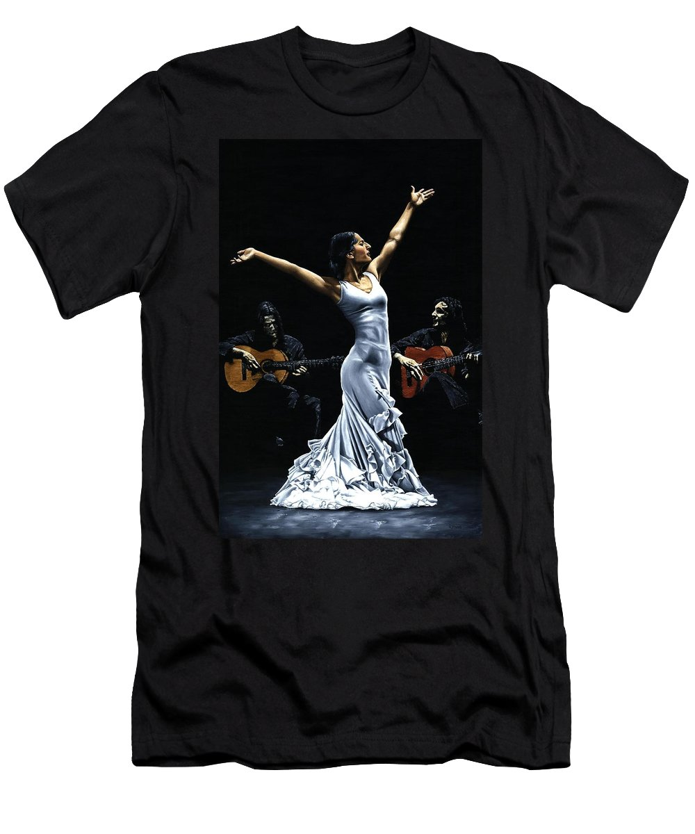 Flamenco Men's T-Shirt (Athletic Fit) featuring the painting Finale Del Funcionamiento Del Flamenco by Richard Young