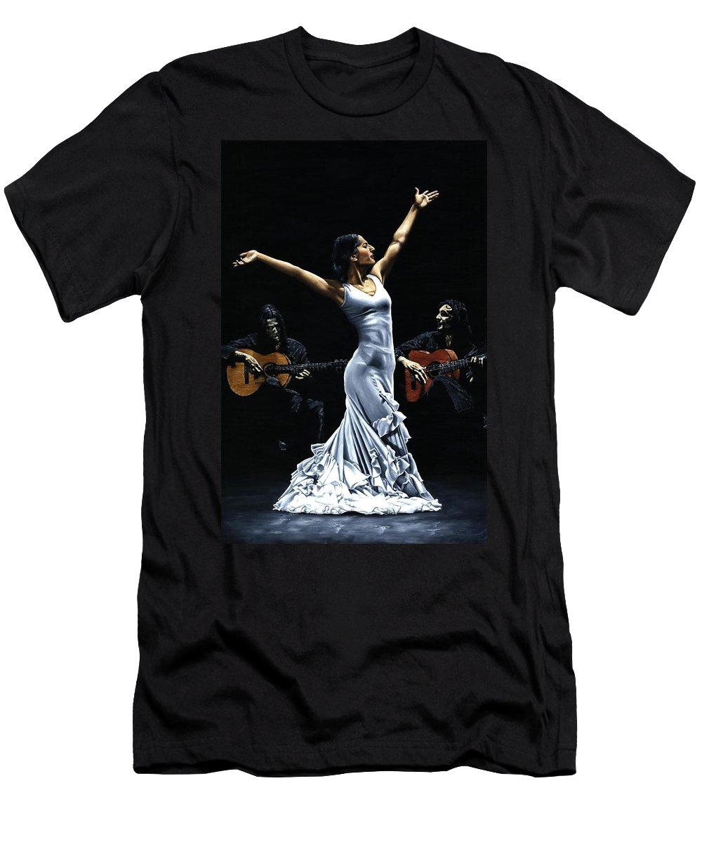Flamenco T-Shirt featuring the painting Finale del Funcionamiento del Flamenco by Richard Young