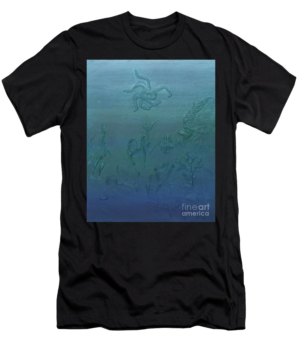 Sea Men's T-Shirt (Athletic Fit) featuring the painting Find The Lionfish by Buffy Heslin