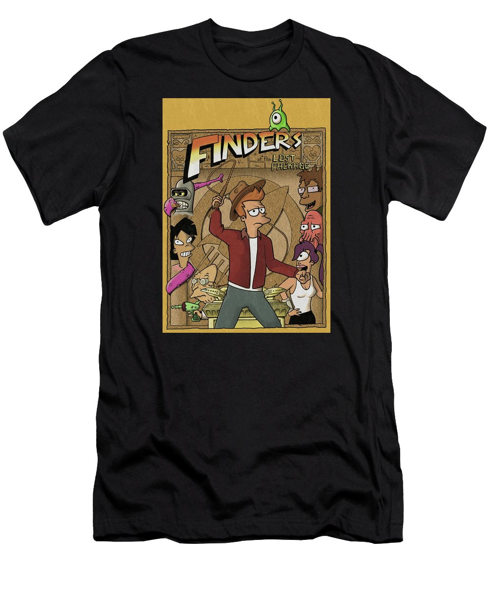 Futurama Men's T-Shirt (Athletic Fit) featuring the digital art Finders Of The Lost Package by Curtis Bisbee