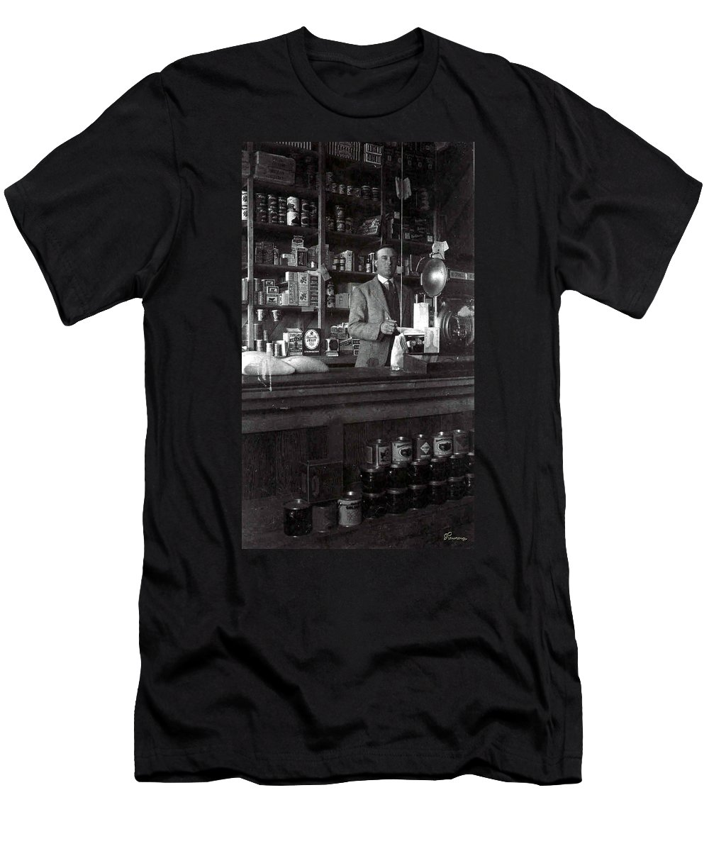 Old General Store Early Years 1900s Country Town Food Goods Grocery Black And White Photograph Men's T-Shirt (Athletic Fit) featuring the photograph Fine Old Store by Andrea Lawrence