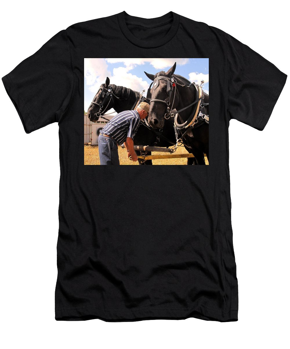 Horses Men's T-Shirt (Athletic Fit) featuring the photograph Fine Tuning by Ian MacDonald