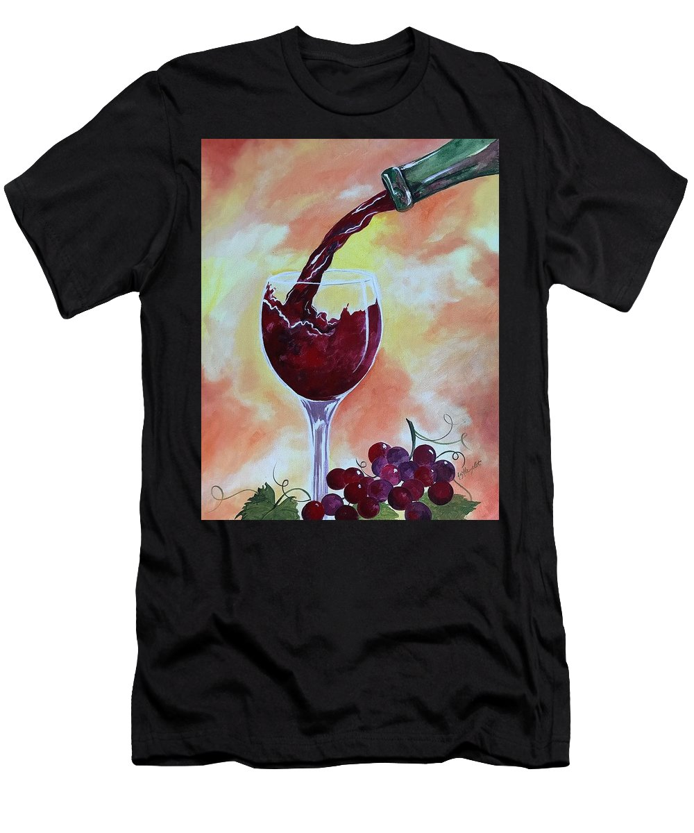 Red Wine Men's T-Shirt (Athletic Fit) featuring the painting Fine Wine by Elizabeth Hazelet