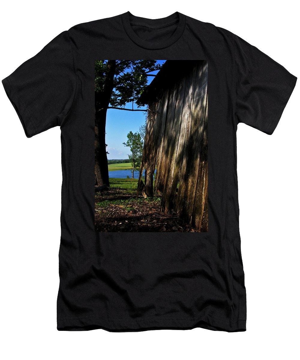 Landscape Men's T-Shirt (Athletic Fit) featuring the photograph Fine Woodwork by Rachel Christine Nowicki