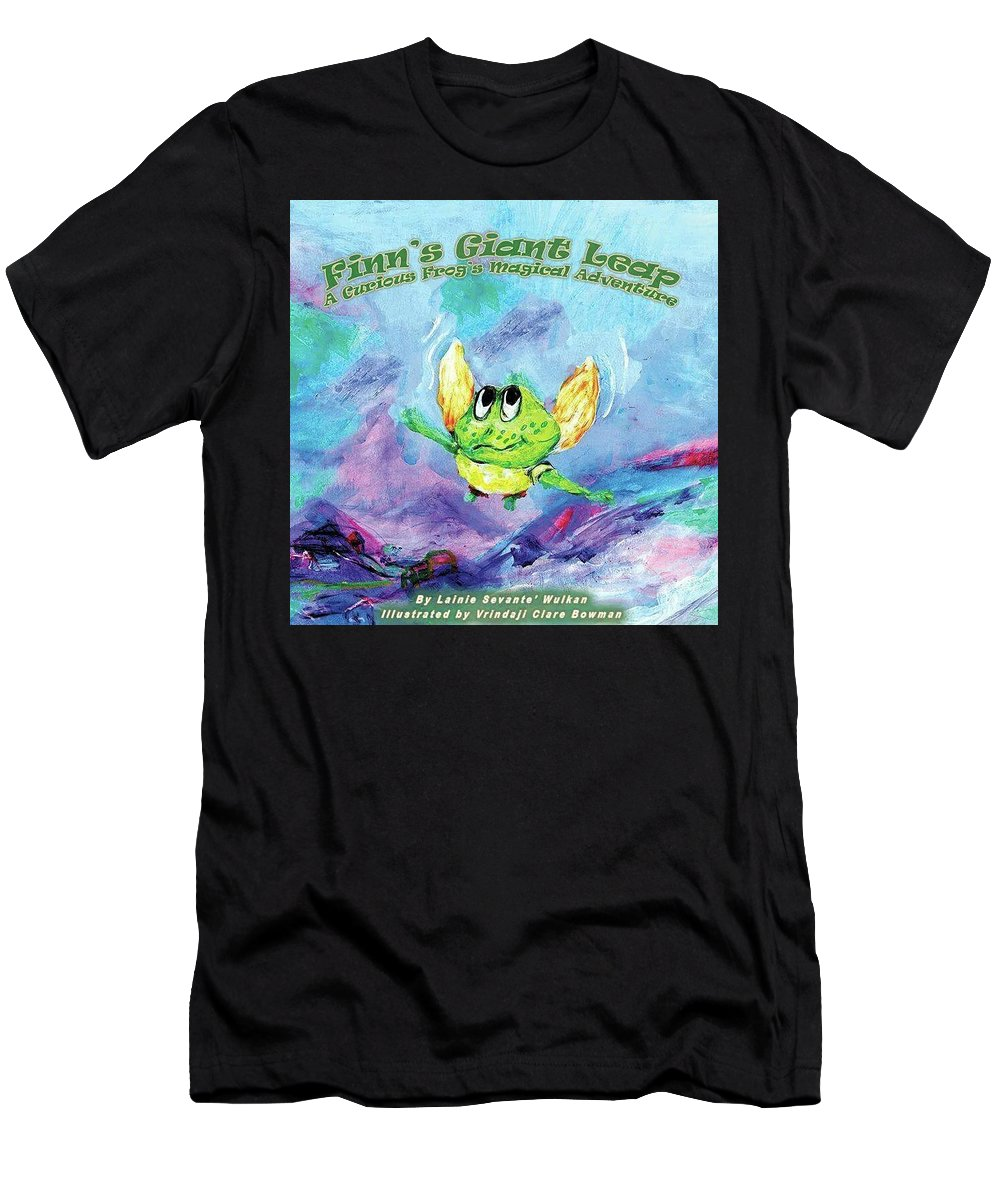 Frog Men's T-Shirt (Athletic Fit) featuring the painting Finn's Giant Leap by Claremaria Vrindaji Bowman