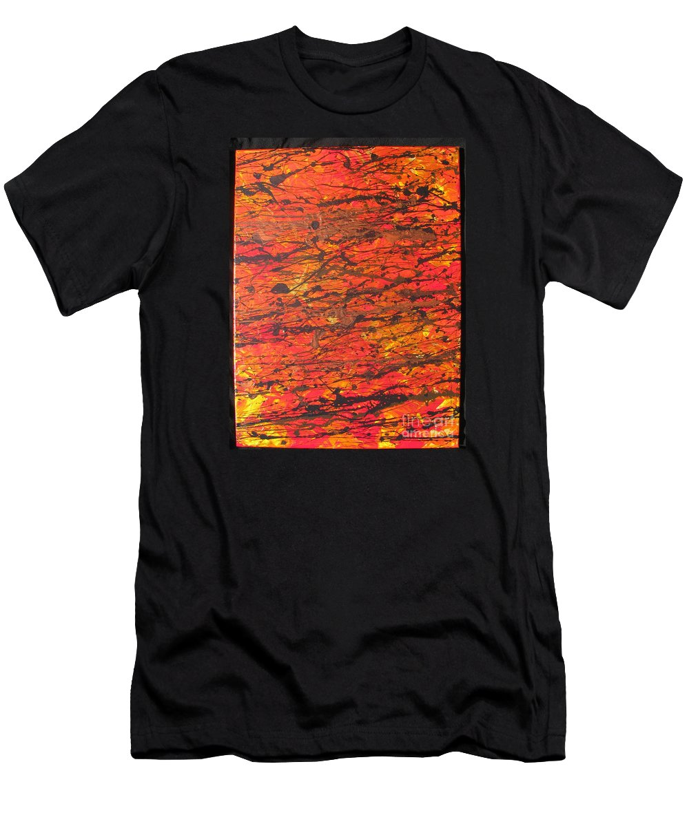 Abstract Men's T-Shirt (Athletic Fit) featuring the painting Fire 2 by Jacqueline Athmann