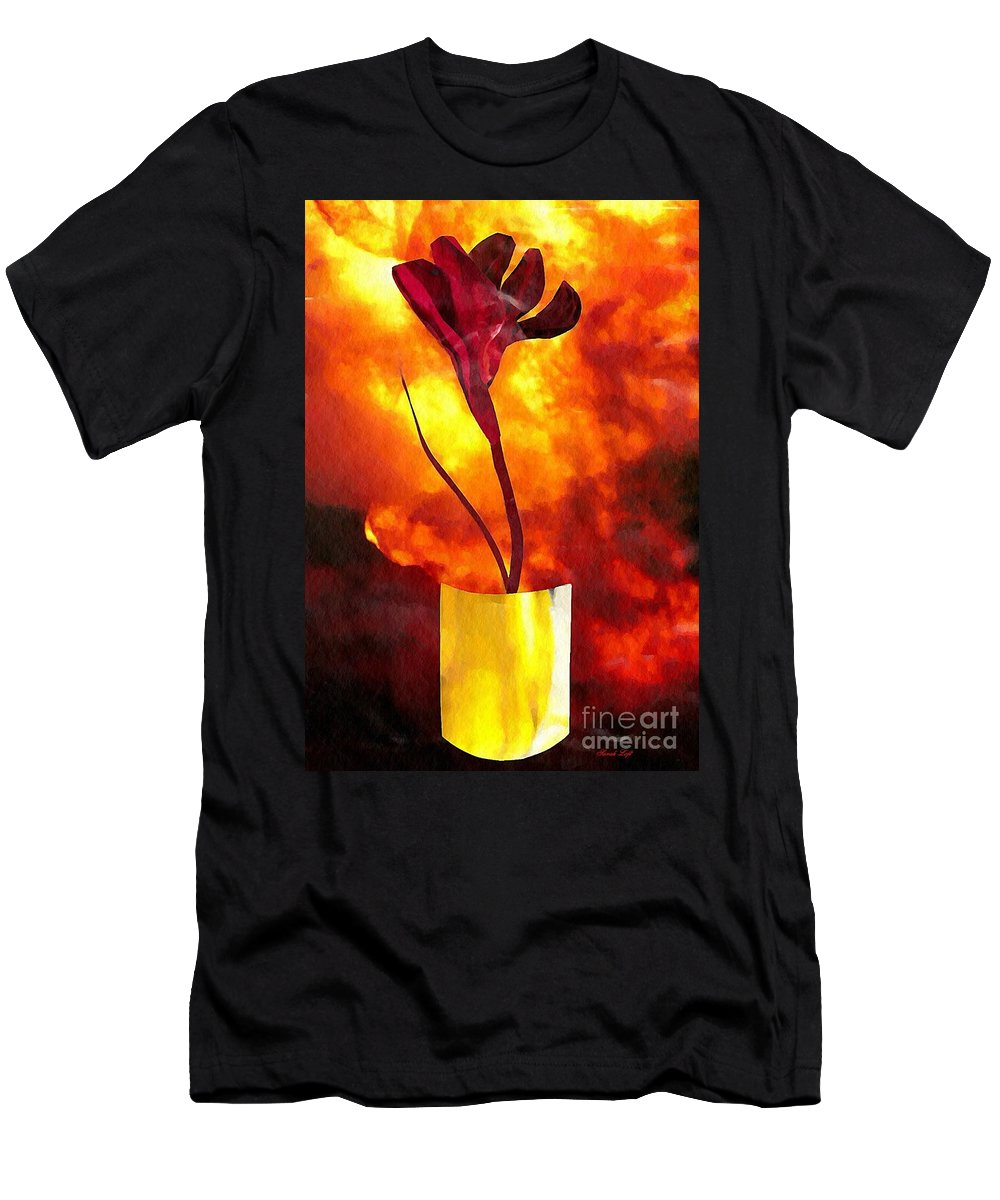 Floral Men's T-Shirt (Athletic Fit) featuring the mixed media Fire And Flower by Sarah Loft