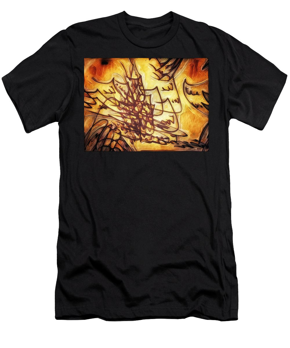 Fire Men's T-Shirt (Athletic Fit) featuring the painting Fire Contract by Philip Openshaw