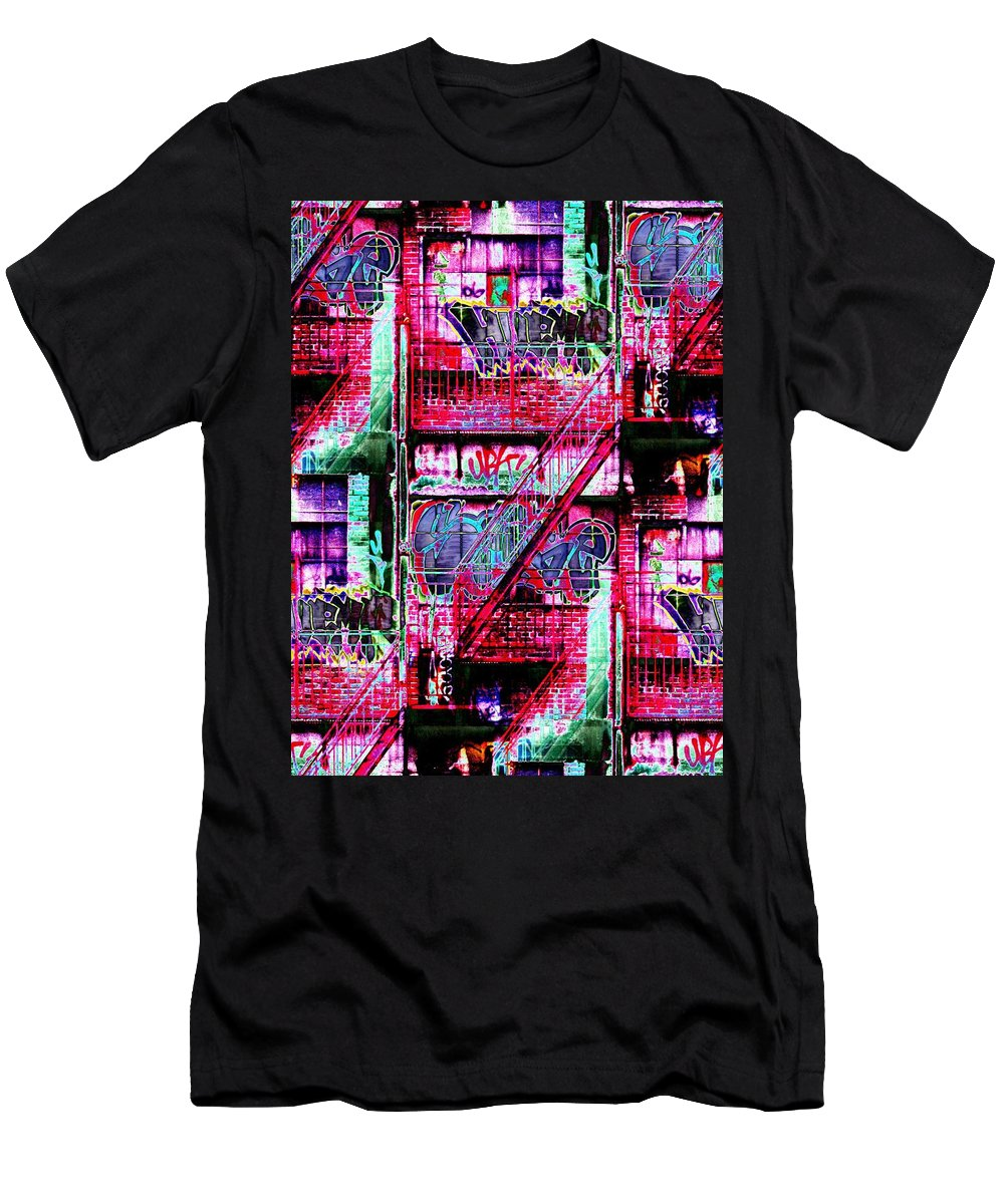Fire Escape Men's T-Shirt (Athletic Fit) featuring the digital art Fire Escape 3 by Tim Allen