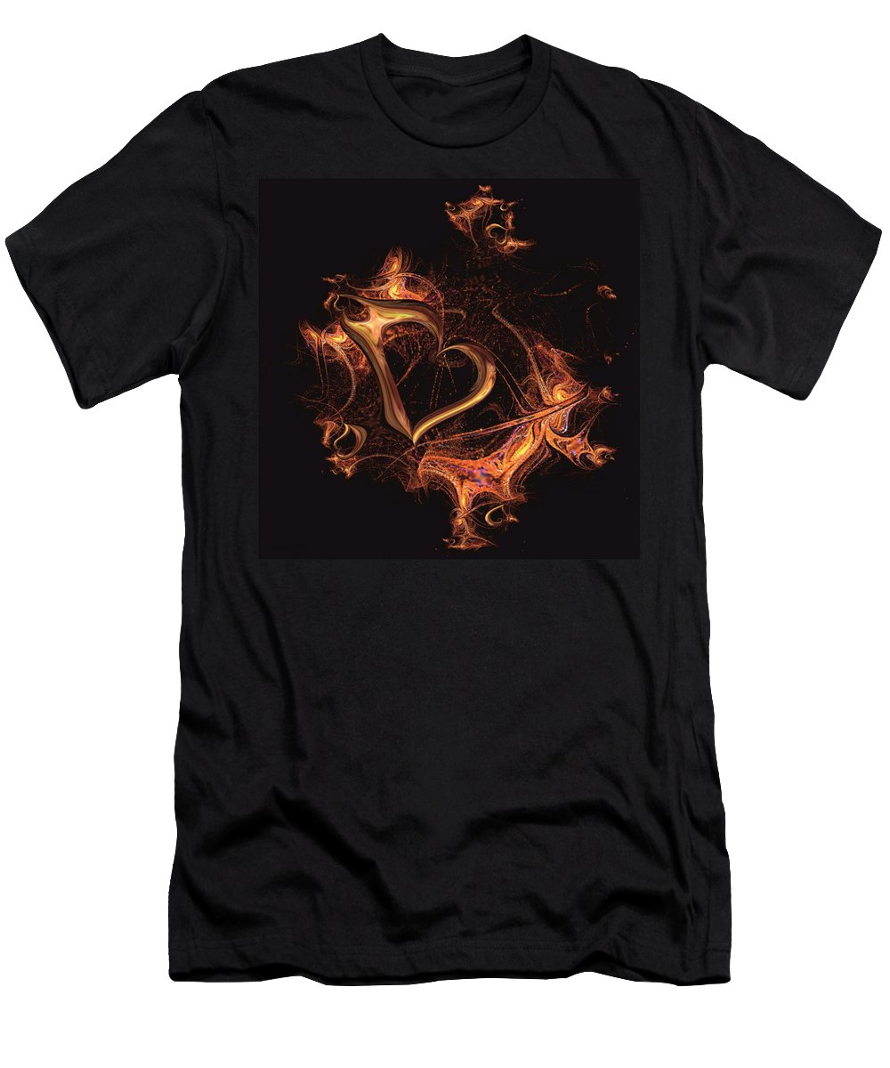 Heart Men's T-Shirt (Athletic Fit) featuring the digital art Fire Heart by Dana Furi