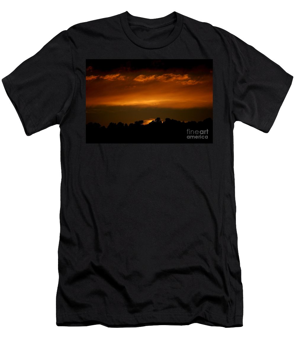 Digital Photo Men's T-Shirt (Athletic Fit) featuring the photograph Fire In The Sky by David Lane