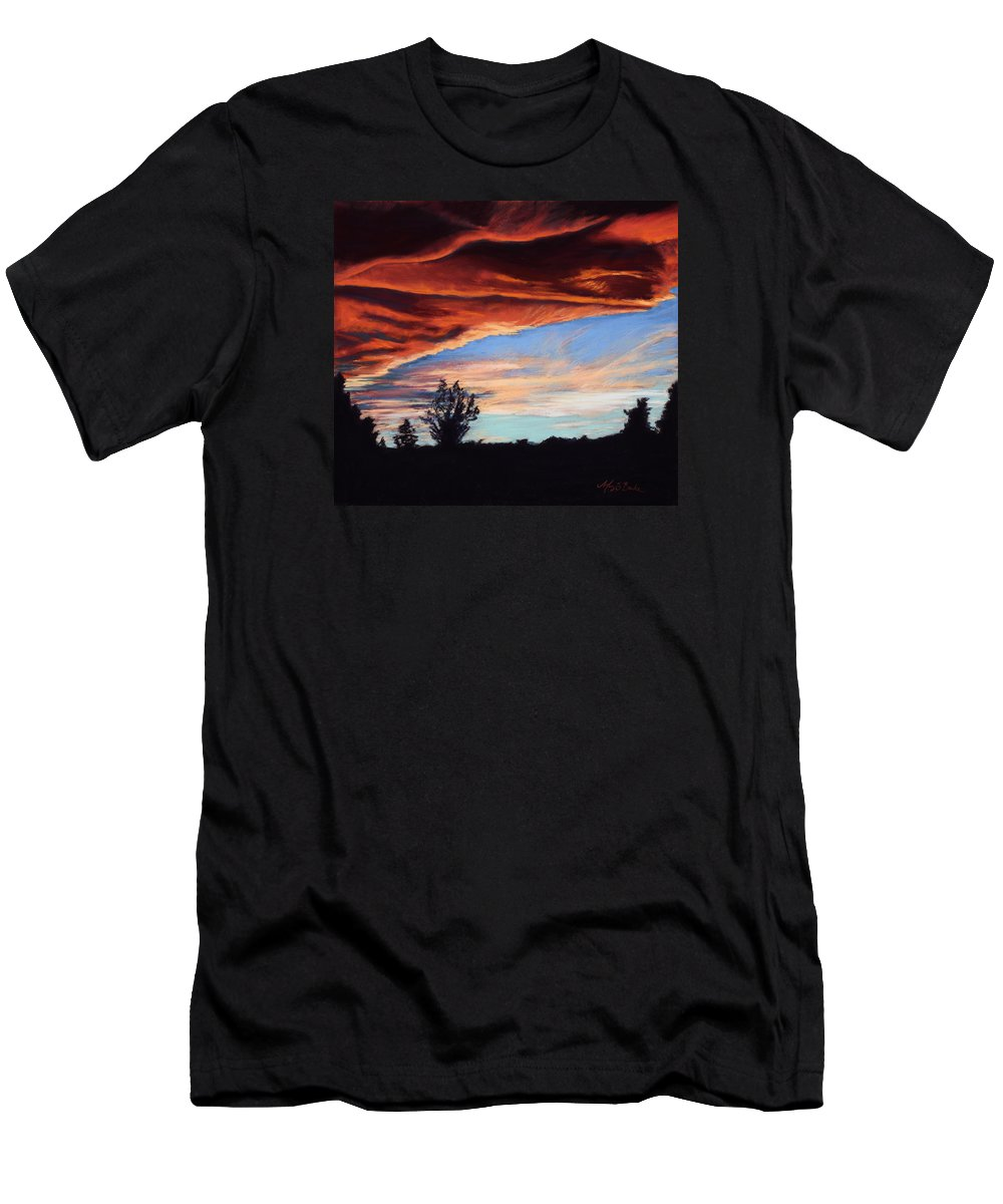 Sunset Men's T-Shirt (Athletic Fit) featuring the painting Fire In The Sky by Mary Benke