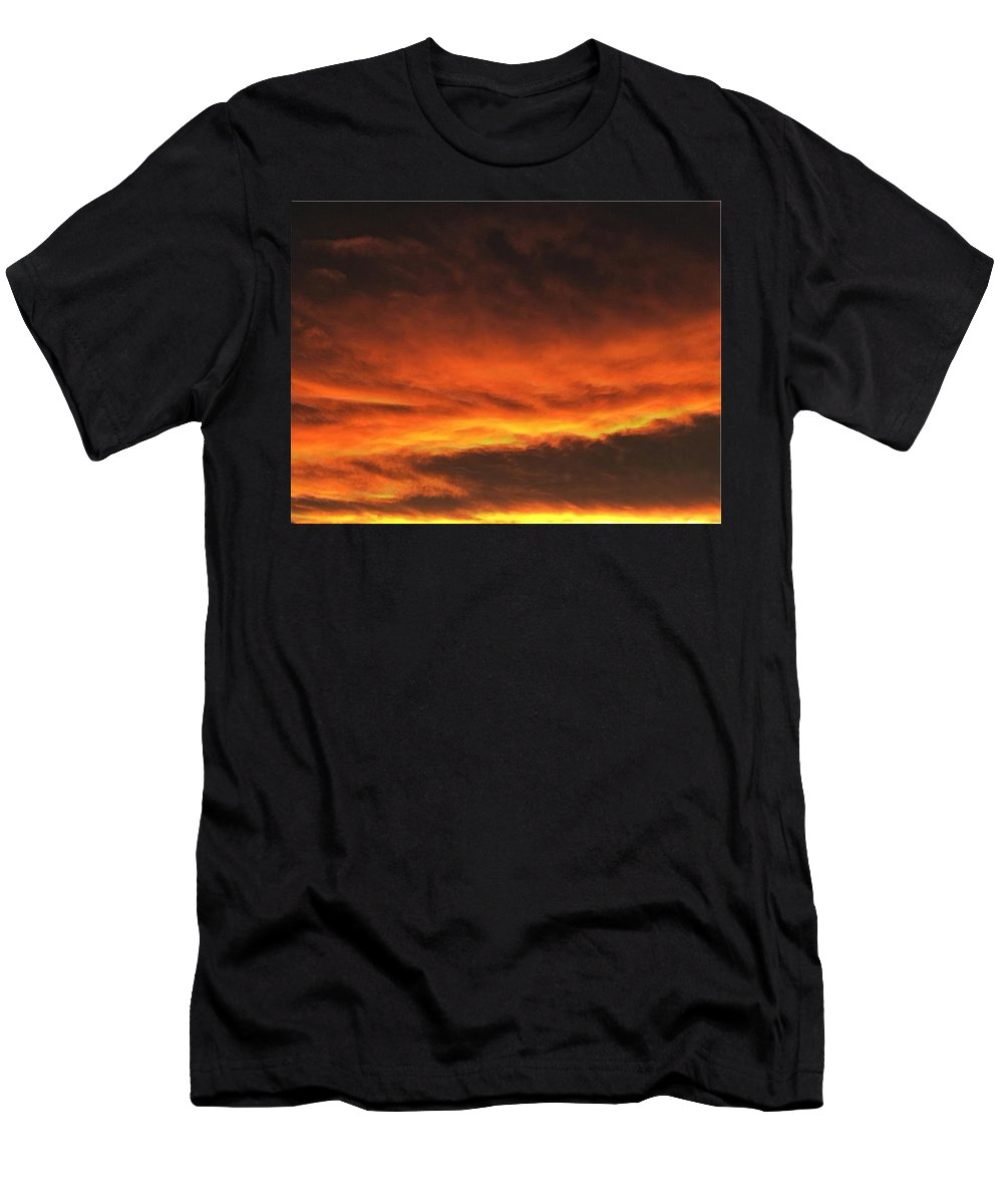 Fire Men's T-Shirt (Athletic Fit) featuring the digital art Fire In The Sky Two by Michael Hurwitz