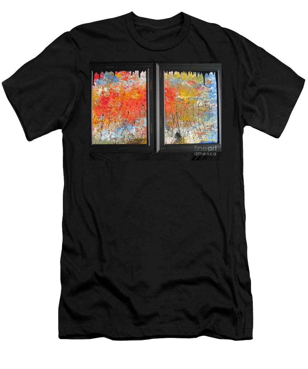 Fire Men's T-Shirt (Athletic Fit) featuring the painting Fire On The Prairie by Jacqueline Athmann