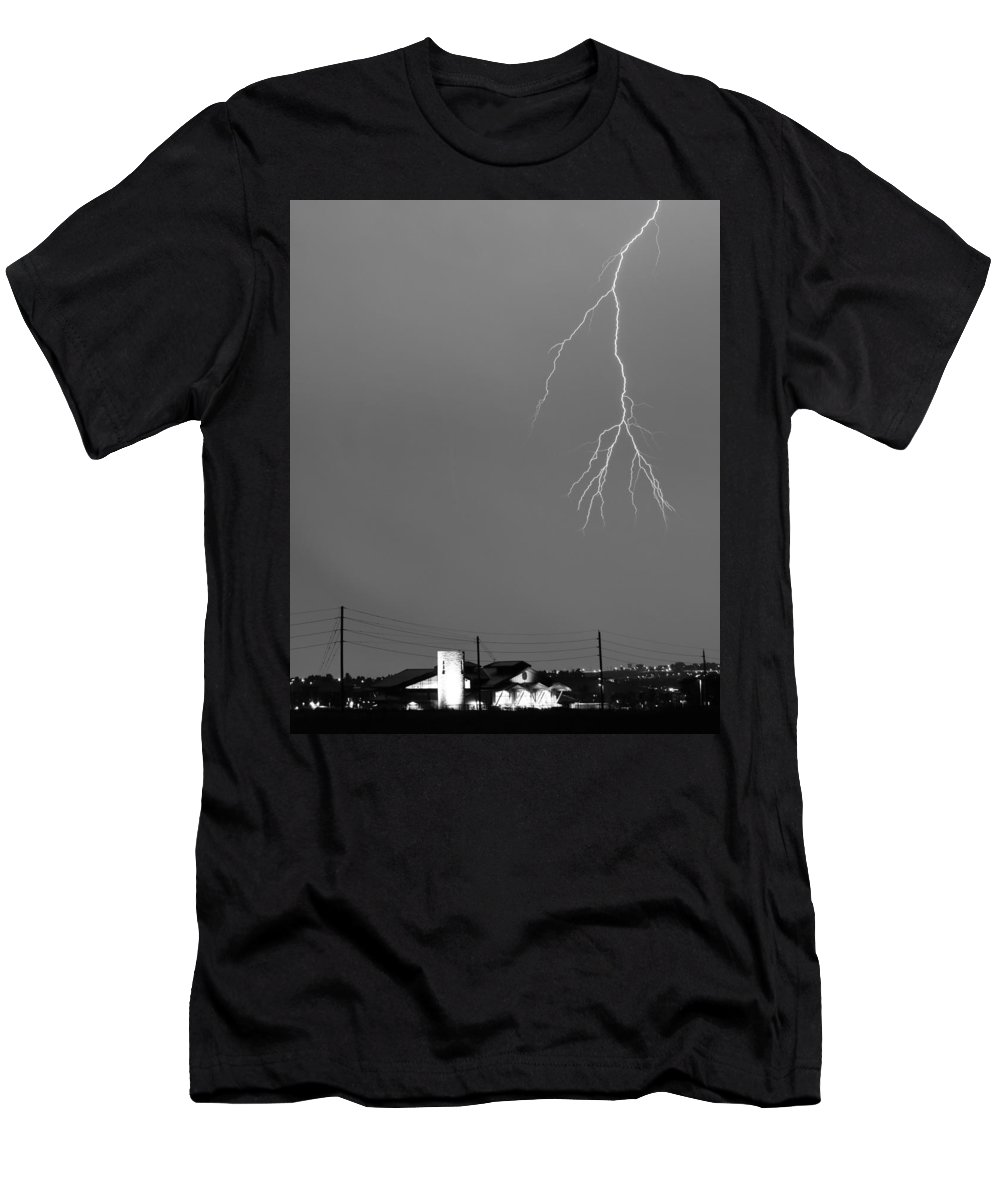 Lightning Men's T-Shirt (Athletic Fit) featuring the photograph Fire Rescue Station 67 Lightning Thunderstorm 2c Bw by James BO Insogna