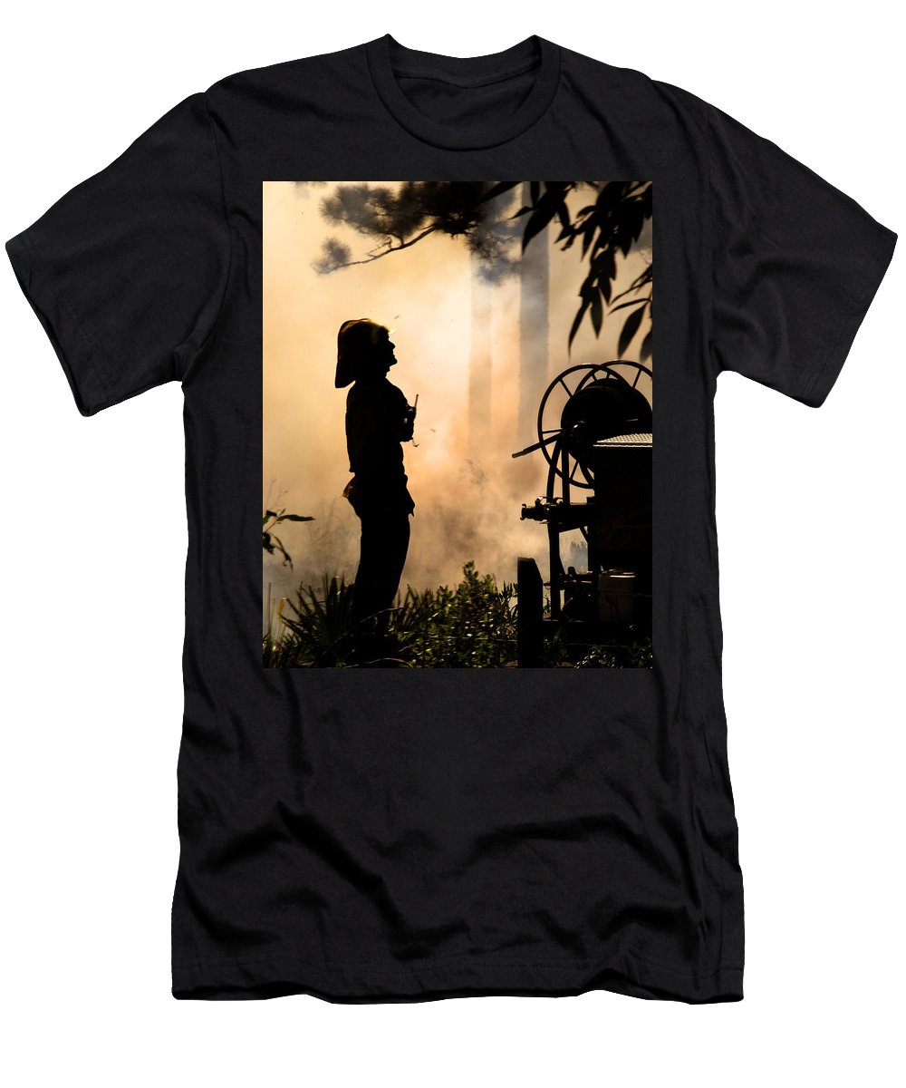 Fire Men's T-Shirt (Athletic Fit) featuring the photograph Firefighter 4473 by Francesa Miller