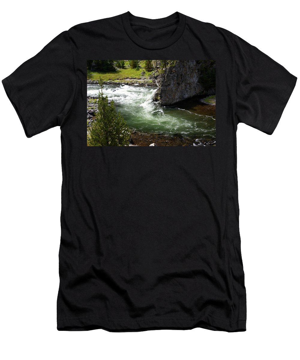Yellowstone National Park Men's T-Shirt (Athletic Fit) featuring the photograph Firehole Canyon 1 by Marty Koch