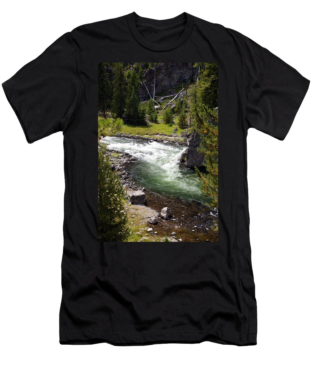 Yellowstone National Park Men's T-Shirt (Athletic Fit) featuring the photograph Firehole Canyon 2 by Marty Koch