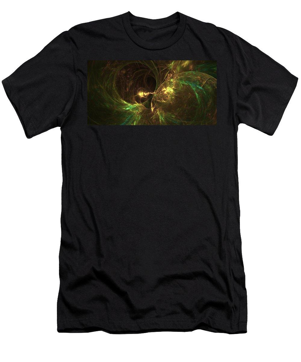 Landscape Shape Men's T-Shirt (Athletic Fit) featuring the digital art Fireplace Comfort by John Pirillo