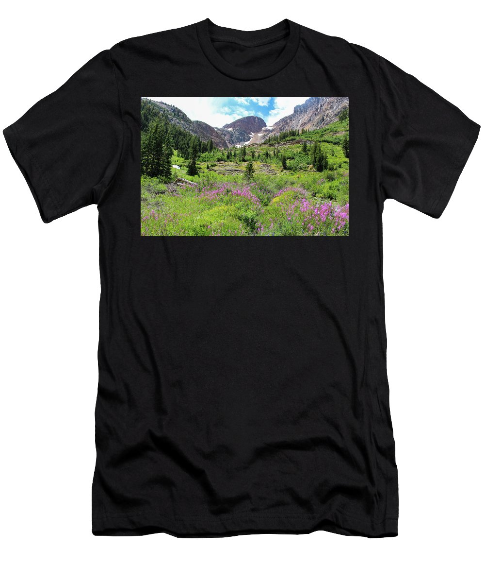Fireweed Men's T-Shirt (Athletic Fit) featuring the photograph Fireweed Frenzy by Jennifer McMahon