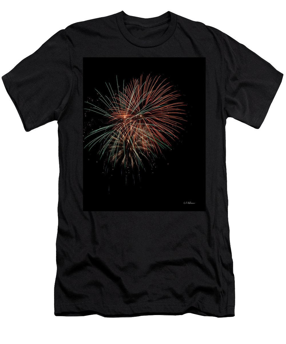 Fireworks Men's T-Shirt (Athletic Fit) featuring the photograph Fireworks by Christopher Holmes