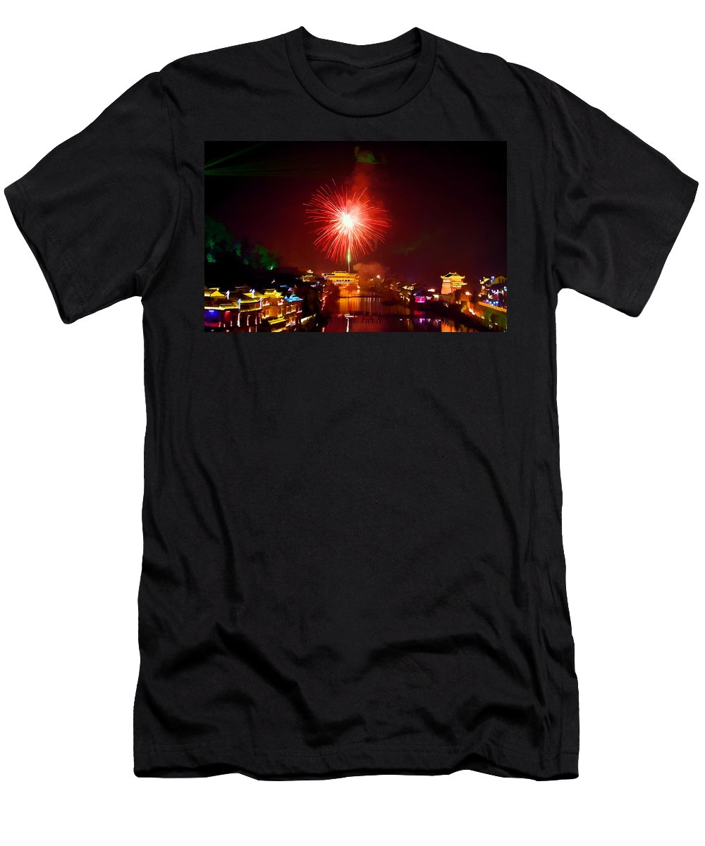 Ancient Men's T-Shirt (Athletic Fit) featuring the painting Fireworks In Phoenix by Jeelan Clark