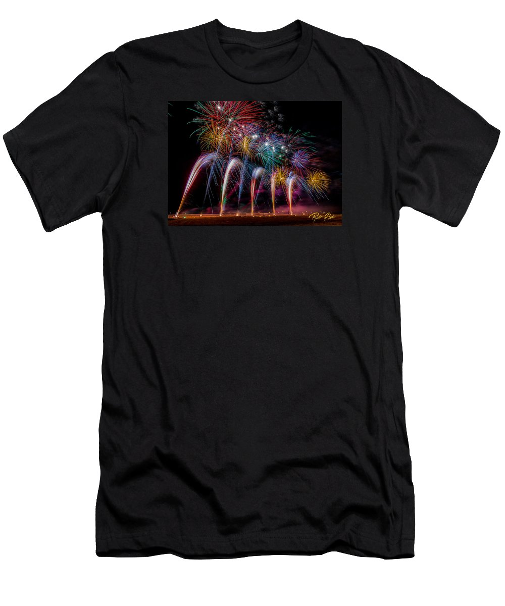 Fireworks Men's T-Shirt (Athletic Fit) featuring the photograph Fireworks Line by Rikk Flohr