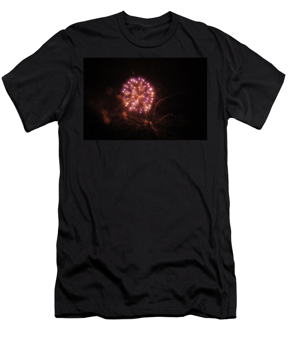 Men's T-Shirt (Athletic Fit) featuring the photograph Fireworks Over Puget Sound 2 by Cathy Anderson