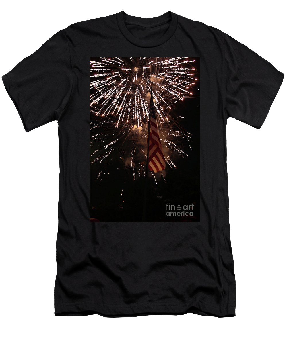3d Men's T-Shirt (Athletic Fit) featuring the photograph Fireworks With Flag by Alan Look